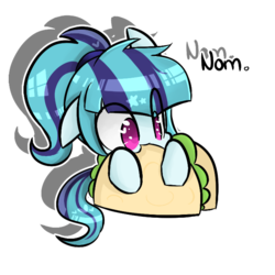 Size: 700x700   Tagged: safe, artist:jankrys00, sonata dusk, pony, equestria girls, rainbow rocks, cute, equestria girls ponified, female, food, heart eyes, literal sonataco, mare, nom, ponified, simple background, solo, sonatabetes, sonataco, taco, taco tuesday, that girl sure loves tacos, that pony sure does love tacos, transparent background, weapons-grade cute, wingding eyes
