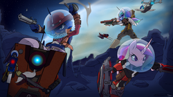 Size: 1920x1079 | Tagged: safe, artist:slypon, discord, princess cadance, princess celestia, princess luna, anthro, athena, belly button, borderlands, borderlands the pre-sequel, claptrap, cowboy hat, crossover, duct tape, female, gun, hat, helmet, male, midriff, nisha, one eye closed, shield, space helmet, sword, weapon, wilhelm