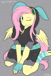 Size: 853x1280 | Tagged: safe, artist:php41, derpibooru exclusive, fluttershy, pegasus, anthro, adorasexy, breasts, bunny ears, busty fluttershy, clothes, cute, dangerous mission outfit, female, fingerless gloves, gloves, goggles, hoodie, looking at you, one eye closed, sexy, smiling, socks, solo, spread wings, striped socks, wink