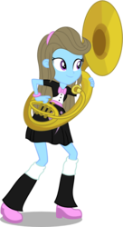 Size: 627x1150 | Tagged: safe, artist:punzil504, beauty brass, equestria girls, bowtie, clothes, equestria girls-ified, humanized, musical instrument, skirt, socks, solo, sousaphone