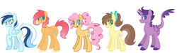 Size: 3524x1068 | Tagged: safe, artist:le-poofe, oc, oc only, dracony, earth pony, hybrid, pegasus, pony, female, interspecies offspring, line-up, male, next generation, offspring, parent:applejack, parent:caramel, parent:cheese sandwich, parent:pinkie pie, parent:rainbow dash, parent:rarity, parent:soarin', parent:spike, parents:carajack, parents:cheesepie, parents:soarindash, parents:sparity