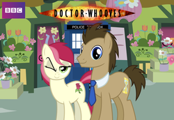 Size: 1920x1324 | Tagged: safe, artist:ryan1942, doctor whooves, roseluck, time turner, doctor who, doctorrose, female, male, necktie, shipping, straight, tardis, wink