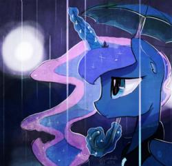 Size: 1400x1350   Tagged: safe, artist:darkflame75, princess luna, lunadoodle, female, magic, painting, rain, solo, umbrella