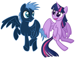 Size: 1024x805 | Tagged: safe, artist:thecheeseburger, star hunter, twilight sparkle, alicorn, pony, blushing, female, flying, mare, simple background, sparklehunter, transparent background, twilight sparkle (alicorn)