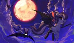 Size: 3421x1971   Tagged: safe, artist:paradoxbroken, oc, oc only, oc:sweet velvet, bat, bat pony, pony, clothes, full moon, stockings