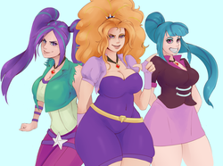 Size: 2186x1629 | Tagged: safe, artist:sundown, adagio dazzle, aria blaze, sonata dusk, human, equestria girls, rainbow rocks, breasts, busty adagio dazzle, busty aria blaze, busty sonata dusk, cleavage, curvy, female, grin, human coloration, humanized, lipstick, looking at you, pointing, smiling, stupid sexy adagio dazzle, stupid sexy aria blaze, stupid sexy sonata dusk, the dazzlings, thunder thighs, wide hips