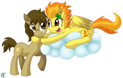 Size: 2299x1465 | Tagged: safe, artist:php92, spitfire, oc, oc:chocolate chips, earth pony, pegasus, pony, blushing, canon x oc, cloud, clover, female, firechips, four leaf clover, hug, male, mare, open mouth, shipping, simple background, smiling, stallion, straight, transparent background