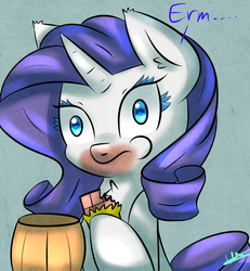 Size: 1200x1300 | Tagged: safe, artist:wolfy-pony, rarity, bucket, candy, caught, chocolate, ear fluff, eating, solo