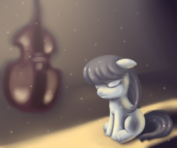Size: 1000x836 | Tagged: safe, artist:tomomo-no-mae, octavia melody, blank flank, cello, filly, musical instrument, solo, younger