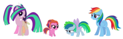 Size: 1524x490 | Tagged: safe, artist:unoriginai, aria blaze, rainbow dash, flutter pony, pegasus, pony, ariadash, blank flank, cute, filly, magical lesbian spawn, offspring, parent:aria blaze, parent:rainbow dash, parents:ariadash, shipping, the dazzlings, wings