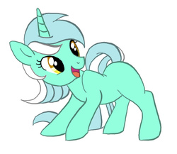 Size: 591x513   Tagged: artist needed, source needed, safe, lyra heartstrings, pony, unicorn, blank flank, missing cutie mark, simple background, smiling, solo, white background