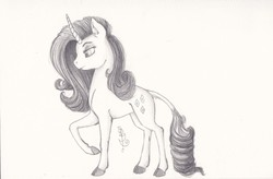 Size: 2536x1660 | Tagged: artist:eveningbloom, classical unicorn, leonine tail, monochrome, rarity, safe, solo, traditional art