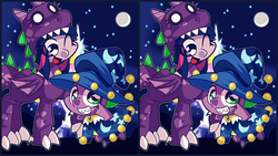 Size: 1280x720   Tagged: safe, artist:panyang-panyang, spike, star swirl the bearded, twilight sparkle, clothes, costume, nightmare night