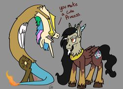 Size: 1423x1036 | Tagged: safe, artist:greyscaleart, discord, princess celestia, comedy, princess discord, role reversal