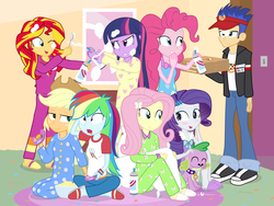 Size: 1440x1080 | Tagged: safe, artist:dm29, applejack, flash sentry, fluttershy, pinkie pie, rainbow dash, rarity, spike, sunset shimmer, twilight sparkle, dog, equestria girls, rainbow rocks, blushing, clothes, controller, cute, derp, derp face, footed sleeper, humane seven, jacket, julian yeo is trying to murder us, mane seven, mane six, pajamas, petting, pizza, slippers, slumber party, spike the dog, twilight sparkle (alicorn), visor, whipped cream