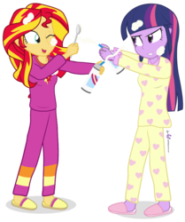 Size: 720x860 | Tagged: safe, artist:dm29, sunset shimmer, twilight sparkle, equestria girls, rainbow rocks, clothes, cute, duo, julian yeo is trying to murder us, pajamas, simple background, slippers, transparent background, twilight sparkle (alicorn), whipped cream