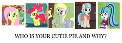 Size: 2000x700 | Tagged: safe, edit, screencap, apple bloom, coco pommel, derpy hooves, fluttershy, sonata dusk, equestria girls, rainbow rocks, adorabloom, answers in the comments, bronybait, cocobetes, cute, derpabetes, meta, moe, question, shyabetes, sonatabetes