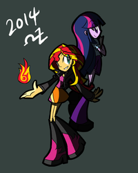 Size: 700x875 | Tagged: safe, artist:rvceric, sunset shimmer, twilight sparkle, equestria girls, clothes, fiery shimmer, fire, magic, pyromancy, simple background, skirt