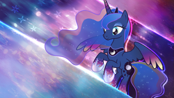 Size: 2560x1440   Tagged: safe, artist:omniscient-duck, artist:theshadowstone, princess luna, alicorn, pony, female, mare, smiling, solo, vector, wallpaper