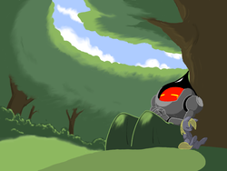 Size: 1024x768 | Tagged: safe, artist:trackpad mcderp, derpy hooves, pegasus, pony, cloud, cloudy, female, flatwoods monster, forest, mare, sky, sleeping, tree