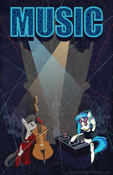 Size: 3300x5100   Tagged: safe, artist:peichenphilip, dj pon-3, frederic horseshoepin, octavia melody, vinyl scratch, pony, bedroom eyes, bipedal, cello, clothes, dress, evening gloves, headphones, looking back, mouth hold, musical instrument, organ, rave, smiling, smirk, socks, turntable