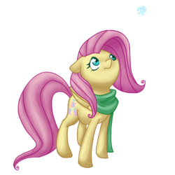 Size: 500x500 | Tagged: safe, artist:breadcipher, fluttershy, clothes, scarf, simple background, snow, snowflake, solo, transparent background