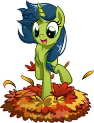 Size: 576x750 | Tagged: safe, artist:habijob, oc, oc only, oc:magical disaster, pony, unicorn, autumn, cute, jumping, leaf pile, ocbetes, solo, stomping