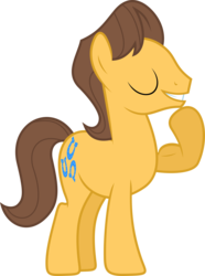 Size: 1600x2156 | Tagged: safe, artist:vectorizedunicorn, caramel, earth pony, pony, sonic rainboom (episode), flexing, male, simple background, solo, stallion, transparent background, vector