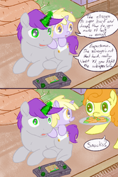Size: 800x1205 | Tagged: safe, artist:a6p, carrot top, dinky hooves, golden harvest, written script, pony, unicorn, ask dinky doo, ask, carrot, filly, goldenscript, monster hunter, tumblr, video game, wii u, wii u touchpad