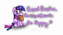 Size: 1654x933 | Tagged: safe, artist:premann, twilight sparkle, pony, unicorn, advice, bibliovore, book, cute, happy, heartwarming, looking at you, mouth hold, nom, sitting, smiling, solo, twiabetes, unicorn twilight