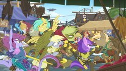Size: 2880x1620 | Tagged: safe, artist:equestria-prevails, amethyst star, derpy hooves, sparkler, sunshower raindrops, oc, dracony, fish, griffon, hippocampus, hippogriff, merpony, original species, pony, sphinx, airship, angry, armor, bipedal, clothes, eyes closed, fight, floppy ears, glare, griffon oc, gritted teeth, market, open mouth, scenery, sleeping, spear, sphinx oc, spread wings, sword, town, wallpaper, weapon, wide eyes