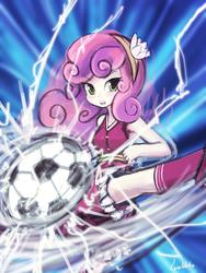 Size: 720x960 | Tagged: safe, artist:lumineko, sweetie belle, equestria girls, badass, female, football, kick, solo