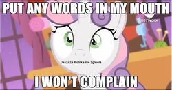 Size: 867x458 | Tagged: safe, edit, edited screencap, screencap, sweetie belle, for whom the sweetie belle toils, animation error, hub logo, image macro, mazurek dąbrowskiego, meme, mouthpiece, no mouth, parody, poland has not yet perished, polish, solo