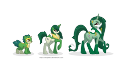 Size: 3846x2384 | Tagged: safe, artist:almairis, pony, serperior, servine, snivy, evolution chart, female, foal, long mane, mare, plot, pokémon, ponified, ponymon, raised hoof, simple background, solo, transparent background