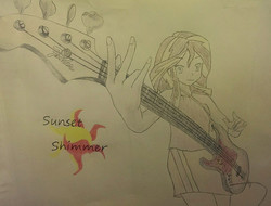 Size: 1600x1213 | Tagged: safe, artist:cyrix-s, sunset shimmer, equestria girls, bass guitar, musical instrument, solo