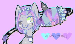 Size: 858x508   Tagged: safe, artist:judas-cradle, oc, oc only, monster pony, original species, piranha plant pony, pastel, solo