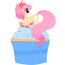 Size: 1800x1800 | Tagged: safe, artist:ashourii, oc, oc only, oc:cuppy cake, alicorn, pony, alicorn oc, cupcake, food, solo