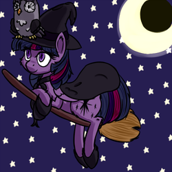 Size: 500x500 | Tagged: alicorn, broom, cape, clothes, crescent moon, female, flying, flying broomstick, hat, mare, moon, night, night sky, owlowiscious, pony, safe, smiling, stars, twilight sparkle, twilight sparkle (alicorn), witch, witch hat