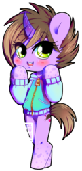 Size: 580x1200 | Tagged: dead source, safe, artist:nauticalsparrow, oc, oc only, oc:karo, pony, bipedal, blushing, clothes, curved horn, simple background, solo, sweater, transparent background