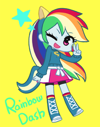 Size: 631x800 | Tagged: artist:chanxco, chibi, cute, dashabetes, equestria girls, female, one eye closed, open mouth, peace sign, pixiv, rainbow dash, safe, simple background, solo, stars, wink, wondercolts, wondercolts uniform, yellow background