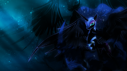 Size: 1920x1080   Tagged: safe, artist:mithandir730, artist:nemesis360, nightmare moon, alicorn, pony, epic wings, female, mare, solo, space, vector, wallpaper