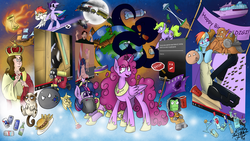 Size: 3840x2160 | Tagged: safe, artist:jorobro, berry punch, berryshine, rainbow dash, twilight sparkle, oc, alicorn, pony, friendship is manly, alcohol, beard, berrycorn, berrytube, burger, dean mccoppin, dr bees, food, french fries, gabe newell, garrosh hellscream, gritted teeth, grumpy cat, hamburger, harry partridge, hourglass, kerbal, meme, open mouth, pyro, race swap, smiling, smugdash, space needle, sweat, train, twilight scepter, twilight sparkle (alicorn), warcraft, wat, wide eyes, world of warcraft