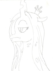 Size: 1228x1653 | Tagged: safe, artist:vanillabeam, queen chrysalis, sketch