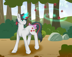 Size: 1280x1024 | Tagged: safe, artist:heavensxnt, artist:retroactive-mayhem, gusty, pony, unicorn, bow, edge mane, female, g1, magic, maple leaf, mare, solo, tail bow