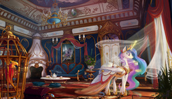 Size: 5255x3026 | Tagged: safe, artist:devinian, philomena, princess celestia, princess luna, rainbow dash, twilight sparkle, alicorn, pegasus, phoenix, pony, absurd resolution, baroque, beautiful, bird cage, cage, cake, chandelier, chest, clothes, color porn, couch, crepuscular rays, cushion, derail in the comments, detailed, dress, duo, dust motes, featured image, female, fireplace, fishnets, glorious, indoors, interior, jewelry, levitation, light, luxury, magic, mare, new crown, painting, palace, photoshop, politics in the comments, scenery, scenery porn, smiling, socks, tea, teacup, teapot, technically advanced, telekinesis, twilight sparkle (alicorn), wall of tags, wallpaper, window