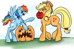 Size: 1515x1004 | Tagged: safe, artist:chromaflow, applejack, rainbow dash, earth pony, pegasus, pony, apple, carving, halloween, holiday, jack-o-lantern, pumpkin, pumpkin carving, that pony sure does love apples