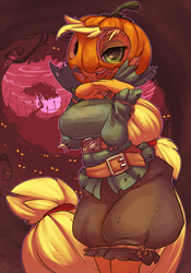 Size: 1050x1500 | Tagged: safe, artist:atryl, applejack, anthro, applejack-o-lantern, breasts, busty applejack, clothes, costume, female, jack-o-lantern, nightmare night, scarecrow, solo, tongue out