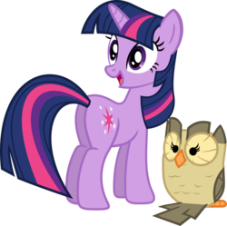 Size: 3549x3534 | Tagged: safe, artist:porygon2z, owlowiscious, twilight sparkle, bird, owl, pony, unicorn, butt, duo, female, high res, looking back, looking over shoulder, mare, plot, simple background, solo, transparent background, twibutt, unicorn twilight, vector