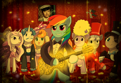 Size: 1400x969 | Tagged: safe, artist:keterok, carrot top, discord, fancypants, fleur-de-lis, golden harvest, lilac sky, rainbow dash, human, pony, bipedal, guitar, irl, irl human, ostap bender, photo, song reference, the offspring, twelve chairs