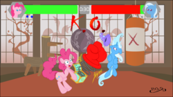 Size: 1194x668 | Tagged: safe, artist:dfectivedvice, artist:midnightblitzz, lyra heartstrings, pinkie pie, trixie, pony, unicorn, fighting is magic, cute, falcon punch, female, fight, flawless victory, funny, mare, mortal kombat, vector